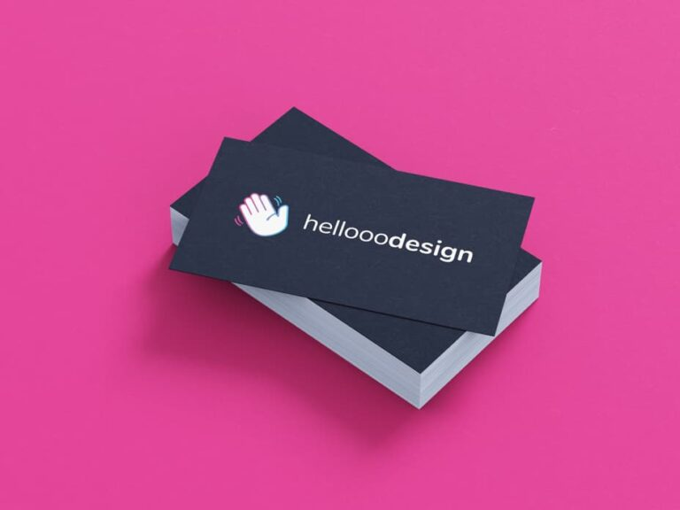 Business cards with the hellooodesign logo.
